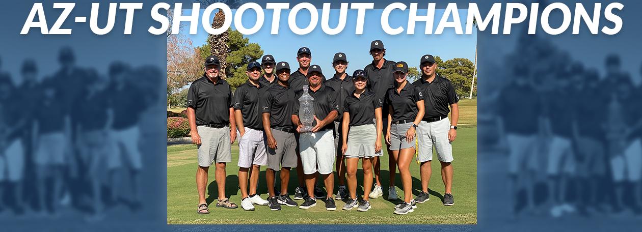 image of Team AZ holding the 2020 AZ-UT Shootout trophy