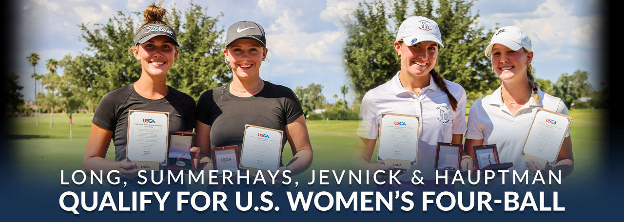 Long, Summerhays, Jevnick & Hauptman hold their USGA medals after qualifying for the US Womens Four Ball at Briarwood CC.