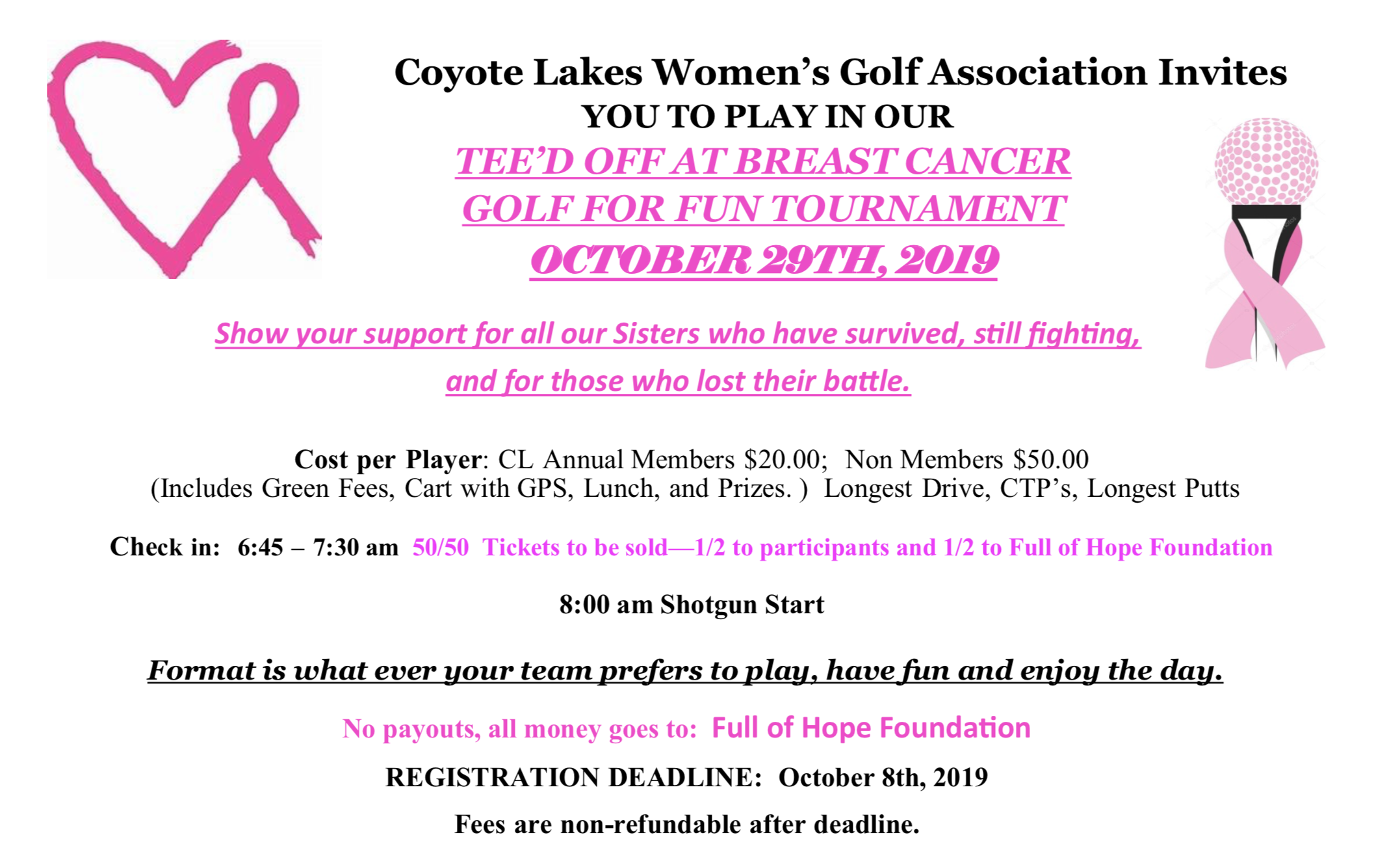 TEE'D OFF AT BREAST CANCER GOLF FOR FUN TOURNAMENT